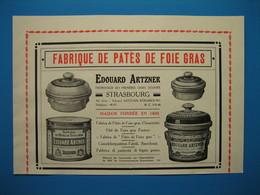 (1924) Fabriques De Patés De Foie Gras : ÉDOUARD ARTZNER à Strasbourg Et L. CLÉMENT-OBIER à Périgueux - Publicités