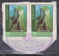 VENEZUELA 1981 COVER PIECE MOUNTAINS CERRO AUTANA ON CANAIMA (TEPUYES) PAIR ARUA YARACUY STATE POSTMARK - Geography