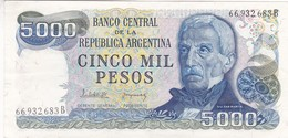 CINCO MIL PESOS GRAL SAN MARTIN ARGENTINA CIRCA 1970s-BILLETE BANKNOTE BILLET NOTA-BLEUP - Argentinië