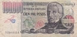CIEN MIL PESOS SAN MARTIN ARGENTINA CIRCA 1980s-BILLETE BANKNOTE BILLET NOTA-BLEUP - Argentinië