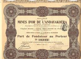ENTREPRISES COLONIALES VOIR HISTORIQUE MINES D'OR DE L'ANDAVAKOERA MADAGASCAR DJIBOUTI SIEGE PARIS VOIR SCANS - Mines