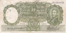 CINCUENTA PESOS MONEDA NACIONAL ARGENTINA CIRCA 1950s-BILLETE BANKNOTE BILLET NOTA-BLEUP - Argentinië