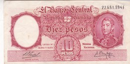 DIEZ PESOS MONEDA NACIONAL ARGENTINA CIRCA 1950s-BILLETE BANKNOTE BILLET NOTA-BLEUP - Argentine