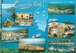 CARTES GÉOGRAPHIQUES - 20 - LA CORSE DU SUD - 7 PETITES VUES - CPM - ÉCRITE - - Maps