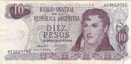 DIEZ PESOS GRAL BELGRANO ARGENTINA CIRCA 1970s-BILLETE BANKNOTE BILLET NOTA-BLEUP - Argentinië