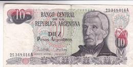 DIEZ PESOS GRAL SAN MARTIN ARGENTINA CIRCA 1975s-BILLETE BANKNOTE BILLET NOTA-BLEUP - Argentinië
