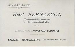 AFFICHE PUBLICITAIRE HOTEL BERNASCON  Adminustrateur. VINCENZO LUDOVICI A AIX Les BAINS - - Publicités