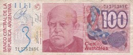 CIEN AUSTRALES DOMINGO SARMIENTO ARGENTINA CIRCA 1987s-BILLETE BANKNOTE BILLET NOTA-BLEUP - Argentinië