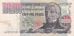 CIEN MIL PESOS GRAL SAN MARTIN  ARGENTINA CIRCA 1980s-BILLETE BANKNOTE BILLET NOTA-BLEUP - Argentina
