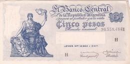 BANCO CENTRAL CINCO PESOS MONEDA NACIONAL ARGENTINA CIRCA 1870s-BILLETE BANKNOTE BILLET NOTA-BLEUP - Argentina