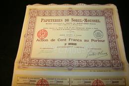 Papeteries De Sorel-Moussel (action De Cent F Au Porteur - Actions & Titres