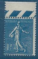 FRANCE 1924-32 - Y.T. N°205 A - 1 F. Bleu-noir - Type Semeuse Lignée - Neuf** - TTB Etat - 1903-60 Säerin, Untergrund Schraffiert