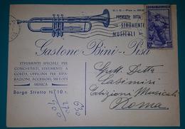 Cartolina Pubblicitaria Ditta Gastone Bini - Pisa - Strumenti Musicali. Viaggiata - Pubblicitari
