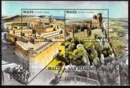 2016 Malta - Castles  Joint Issue With San Marino - Numbered MS Paper - MNH** MiNr. 1945 - 1946 (Block 70) Church, - Gemeinschaftsausgaben
