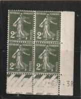 FRANCE  Semeuse  2 Ct Vert  N° 278 CÖTE 3€ TTB ** Année 1938 - Dated Corners