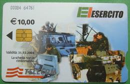 Kosovo ITALIAN ARMY In Kosovo KFOR NATO, CHIP CARD, 10 EURO *ARMY VEHICLES*, Serial Number: 00084 64761 - Kosovo