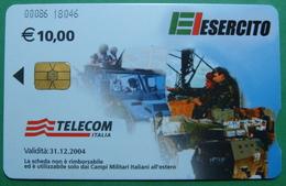 Kosovo ITALIAN ARMY In Kosovo KFOR NATO, CHIP CARD, 10 EURO *ARMY VEHICLES*, Serial Number: 00086 18046 - Kosovo