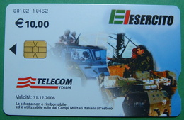 Kosovo ITALIAN ARMY In Kosovo KFOR NATO, CHIP CARD, 10 EURO *ARMY VEHICLES*, Serial Number: 00102 10452 - Kosovo