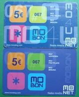 Montenegro Lot Of 2 PREPAID CARDS 5 EURO, Operator MONET - Montenegro
