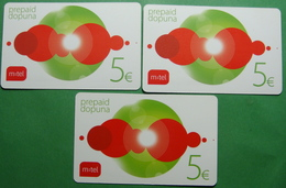 Montenegro Lot Of 3 PREPAID CARDS 5 EURO, Operator MTEL - Montenegro