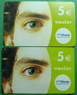 Montenegro Lot Of 2 PREPAID CARDS 5 EURO, Operator PROMONTE - Montenegro