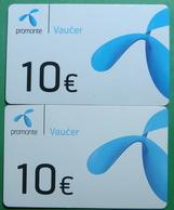 Montenegro Lot Of 2 PREPAID CARDS 10 EURO, Operator PROMONTE - Montenegro