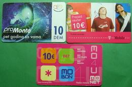 Montenegro Lot Of 3 PREPAID CARDS 10 EURO, Operator ALO, TMOBILE, MONET - Montenegro