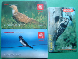 Slovenia Lot Of 3 PREPAID CARDS USED, Operator MOBI *BIRDS* - Slovénie