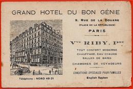 En L'état Carte De Visite Commerciale GRAND HÔTEL Du BON GENIE (Riby) Rue De La Douane 75010 Paris - Visiting Cards
