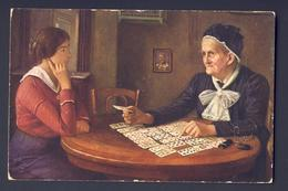 FORTUNE TELLING PLAYING CARD CARDS ~ Older Woman Reading Cards To Woman - Alfred Russo  - Examining The Fate - Playing Cards