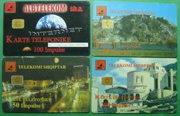 Albania Lot Of 4 CHIP PHONECARDS USED, Operator ALBTELECOM, 50, 100, 200 Units, 2000 - Albania