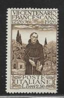 Italy, Scott # 183 Unused No Gum St. Francis, 1926 - 1900-44 Victor Emmanuel III