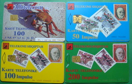Albania Lot Of 4 CHIP PHONECARDS USED, Operator ALBTELECOM, 50, 100, 200 Units, 1998, 2003 - Albania