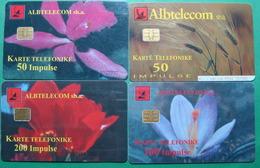 Albania Lot Of 4 CHIP PHONECARDS USED, Operator ALBTELECOM, 50, 100, 200 Units, 1999, 2001 - Albania