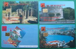 Albania Lot Of 4 CHIP PHONECARDS USED, Operator ALBTELECOM, 50, 100, 200 Units, 1999, 2000 - Albania