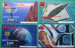 Albania Lot Of 4 CHIP PHONECARDS USED, Operator ALBTELECOM, 50, 100, 200 Units, 2000, 2001 - Albania