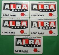Albania Lot Of 5 PREPAIL PHONECARDS USED, Operator ALBTELECOM, 1000 Leke, 2002, 2003 - Albania