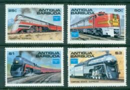 Antigua 1986 American Trains (4) MUH - Antigua And Barbuda (1981-...)