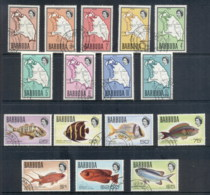 Barbuda 1968-70 Pictorials, Map, Fish (16/17, No 20c) FU - Antigua And Barbuda (1981-...)