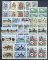 Barbuda 1974-75 Pictorials, Flowers, Views Blk4 MUH - Antigua And Barbuda (1981-...)