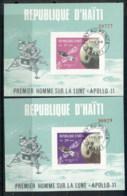 Haiti 1969 Apollo Space Missions 2x MS IMPERF CTO - Haiti