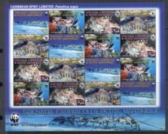 Grenada Carriacou & Petite Martinique 2009 WWF Caribbean Spiny Lobster Sheetlet MUH - Grenada (1974-...)