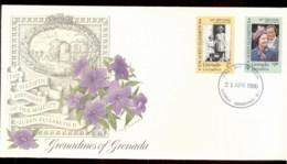 Grenada Grenadines  1986 QEII 60th Birthday 2v Fleetwood FDC - Grenada (1974-...)