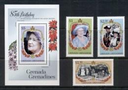 Grenada Grenadines 1985 Queen Mother 85th Birthday + MS MUH - Grenada (1974-...)