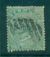 Bermuda 1875 QV 1d On 1/- Green, Faults FU Lot79192 - Bermuda