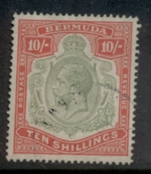 Bermuda 1910-1925 10/- Red & Green On Green KGV Head Wmk Crown CA Cleaned Fisc Used - Bermuda