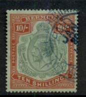 Bermuda 1910-1925 10/- Red & Green On Green KGV Head Wmk Crown CA Fisc Used - Bermuda