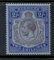 Bermuda 1910-1925 2/- Ultramarine & Dull Violet On Blue KGV Head Wmk Crown CA MLH - Bermuda