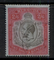 Bermuda 1910-1925 2/6d Red & Black On Blue KGV Head Wmk Crown CA (colour Runs) FU - Bermuda