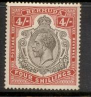 Bermuda 1910-1925 4/- Carmine & Black KGV Head Wmk Crown CA (tones) MLH - Bermuda